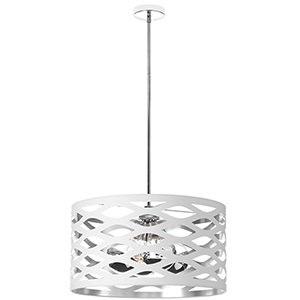 Cutouts White and Silver 22-Inch Four-Light Pendant