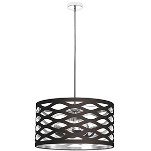 Cutouts Black and Silver 22-Inch Four-Light Pendant