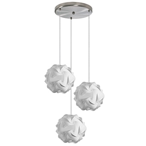 Globus White Fluorescent Three Light Pendant