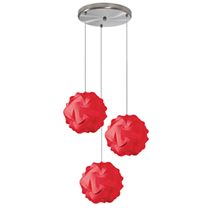 Globus Red Fluorescent Three Light Pendant