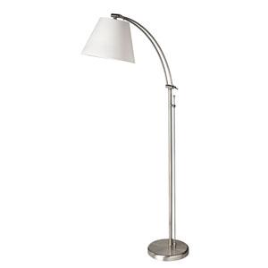 Satin Chrome Adjustable Arm Floor Lamp w/ Linen Shade