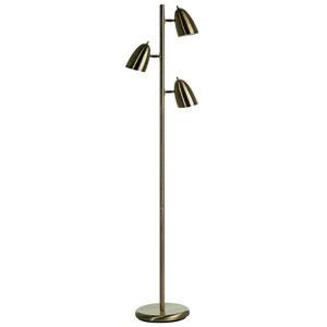 Antique Brass Three-Head Adjustable Floor Lamp