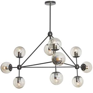 Domi Matte Black 44-Inch Ten-Light Chandelier