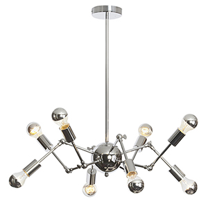 Dresden Polished Chrome 34-Inch Eight-Light Chandelier