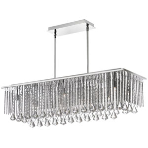 Jacqueline Ten-Light Polished Chrome and Clear Crystal Rectangular Pendant