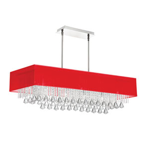 Jacqueline Polished Chrome 10-Inch Ten Light Chandelier with Red Shade