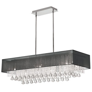 Jacqueline Ten Light Horizontal Crystal Pendant with Black Shade