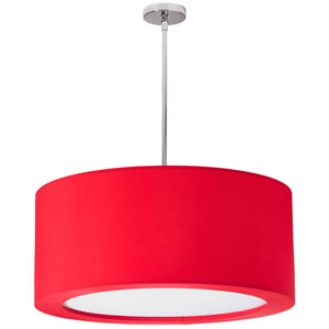 Jasmine Four Light Pendant with Red Lycra Shade with Diffuser