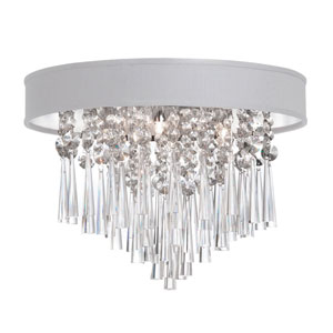 Josephine Three Light Crystal Flush Mount Fixture with White Baroness Micro Shade