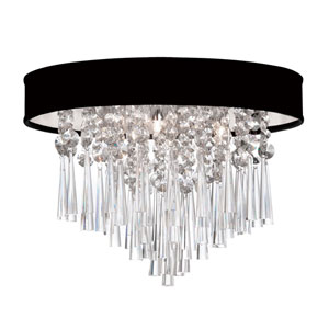Josephine Three Light Crystal Flush Mount Fixture with Black Lizagator Micro Shade