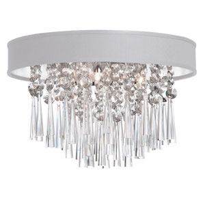 Josephine Four Light Crystal Flush Mount Fixture with White Baroness Micro Shade
