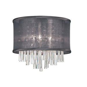 Josephine Three Light Crystal Flush Mount Fixture with Black Organza Drum Shade
