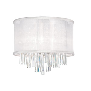 Josephine Three Light Crystal Flush Mount Fixture with White Organza Drum Shade