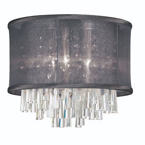Josephine Four Light Crystal Flush Mount Fixture with Black Organza Drum Shade
