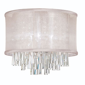 Josephine Four Light Crystal Flush Mount Fixture with Oyster Organza Drum Shade