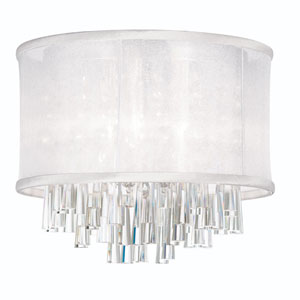 Josephine Four Light Crystal Flush Mount Fixture with White Organza Drum Shade