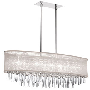 Josephine Polished Chrome Eight-Light Chandelier with Organza Shade