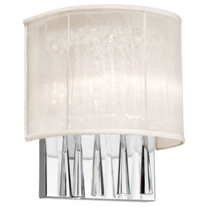Josephine Two-Light Crystal Wall Sconce with Oyster Shade