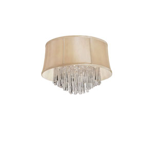 Silk Glow Crystal Four-Light Polished Chrome and Clear Crystal Flush Mount w/ Silk Glow Cream Fabric Shade w/ Piping