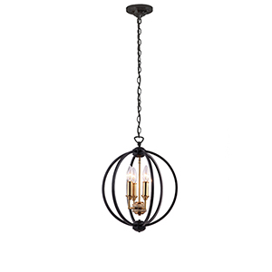 Karland Matte Black 14-Inch Three-Light Chandelier
