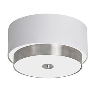 Larkin Satin Chrome Three Light Flush Mount with White Linen Shade