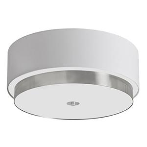 Larkin Satin Chrome Four Light Flush Mount with White Linen Shade
