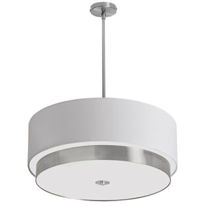 Larkin Satin Chrome Four-Light Pendant with Drum Shade