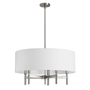 Larkin Satin Chrome Five Light Chandelier with White Linen Drum Shade