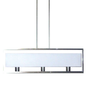 Larkin Satin Chrome Three Light Horizontal Pendant with White Linen Shade