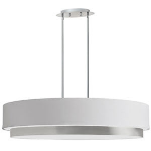Larkin Satin Chrome Four-Light Oval Pendant