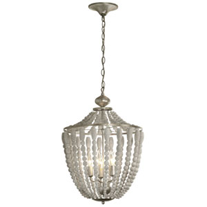 Laura White Washed Five-Light  17-Inch Chandelier