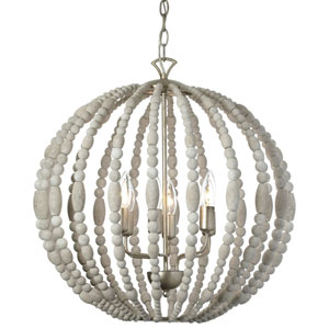 Laura White Washed Six-Light  21-Inch Globe Chandelier with Palladium Gold Trim