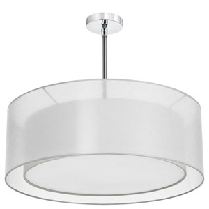 Melissa Four-Light Polished Chrome Pendant w/ a White Linen and Organza Double Shade and a Diffuser