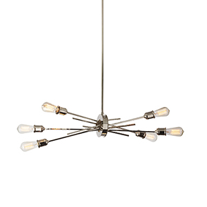 Nebraska Burnished Chrome 16-Inch Six-Light Pendant
