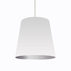 Oversized Drum White and Silver 26-Inch One-Light Pendant