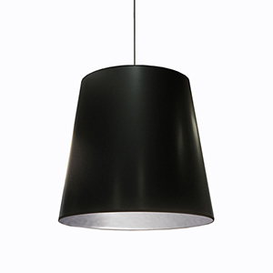 Oversized Drum Black and Silver 26-Inch One-Light Pendant