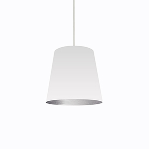 Oversized Drum White and Silver 20-Inch One-Light Pendant
