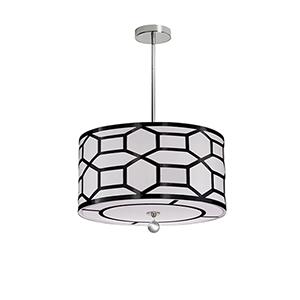 Pembroke Black and White 19-Inch Three-Light Pendant