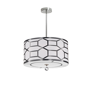 Pembroke Silver and White 24-Inch Four-Light Pendant