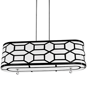 Pembroke Black and White 34-Inch Four-Light Pendant