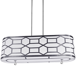 Pembroke Silver and White 34-Inch Four-Light Pendant