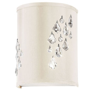 Rhiannon Two Light Right Wall Sconce with with Ivory Baroness Fabric