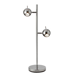 Functional Polished Chrome Two Light Table Lamp