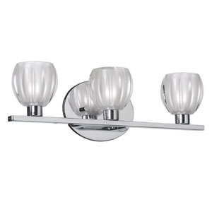 Polished Chrome Three-Light Vanity with Frosted Floral Glass