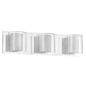Polished Chrome Three-Light Vanity with Frosted and Clear Glass