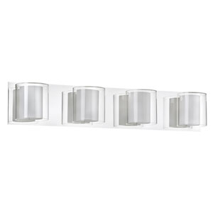 Polished Chrome Four-Light Vanity with Frosted and Clear Glass