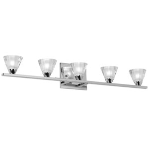 Polished Chrome Five-Light Optical Crystal Vanity