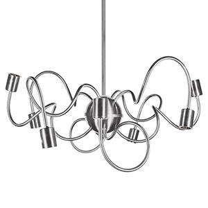 Waitsfield Satin Chrome 25-Inch Eight-Light Pendant