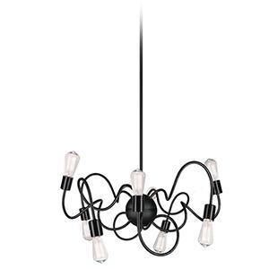 Waitsfield Matte Black 25-Inch Eight-Light Pendant