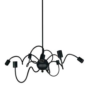 Waitsfield Matte Black 32-Inch Eight-Light Pendant